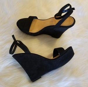 Lauren Conrad Black Ankle Wrap Wedge Size 10